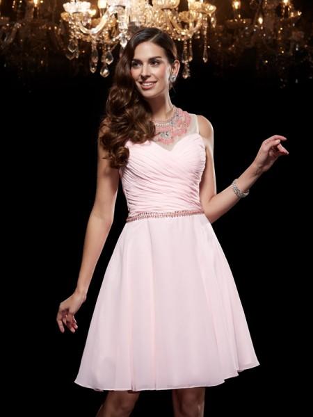 A-Line/Princess Scoop Beading Short Chiffon Dress
