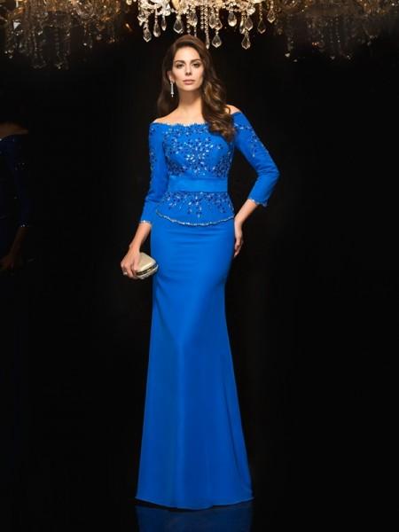 Sheath/Column Off-the-Shoulder Beading 3/4 Sleeves Chiffon Dress