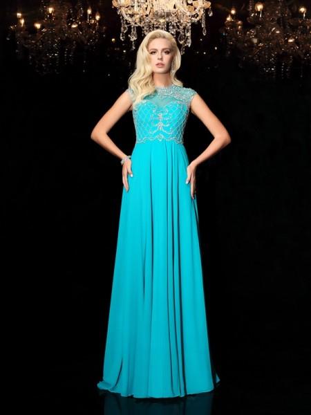 A-Line/Princess Jewel Lace Short Sleeves Chiffon Dress