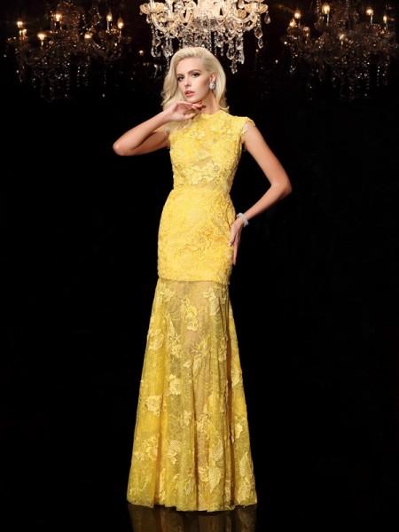 Sheath/Column Jewel Lace Short Sleeves Chiffon Dress