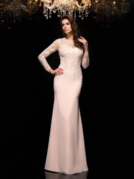 Sheath/Column Sheer Neck Applique 3/4 Sleeves Chiffon Dress