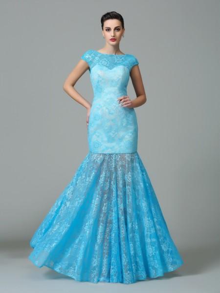 Sheath/Column Scoop Short Sleeves Lace Dress