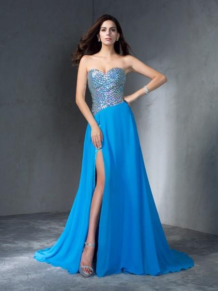 A-Line/Princess Sweetheart Sequin Chiffon Dress