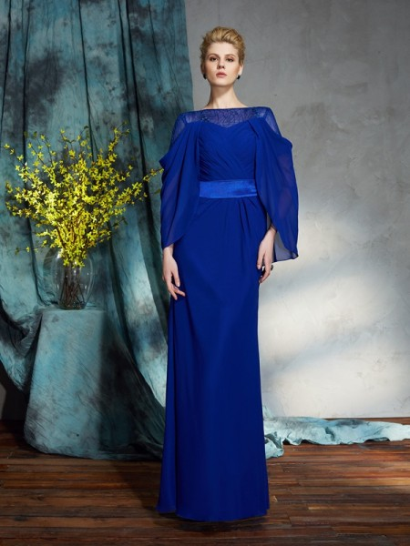 Sheath/Column Bateau Long Sleeves Chiffon Dress
