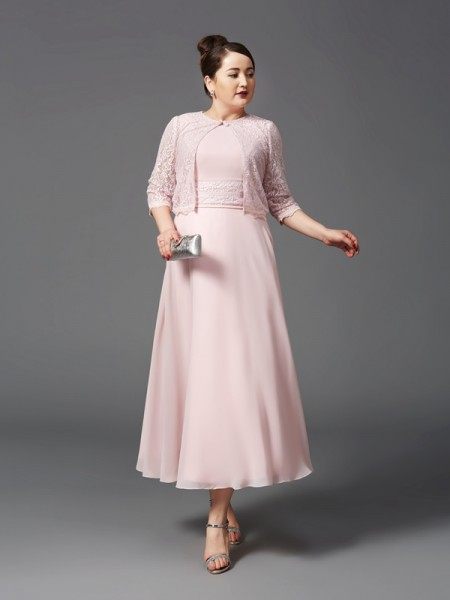 A-Line/Princess Jewel Lace Chiffon Mother of the Bride Dress
