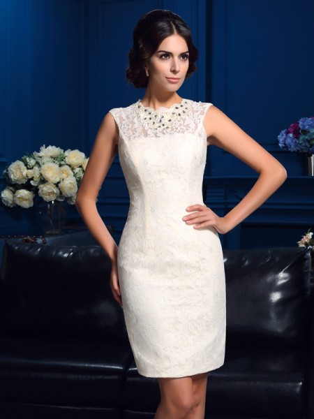 Sheath/Column Jewel Lace Short Lace Mother of the Bride Dress