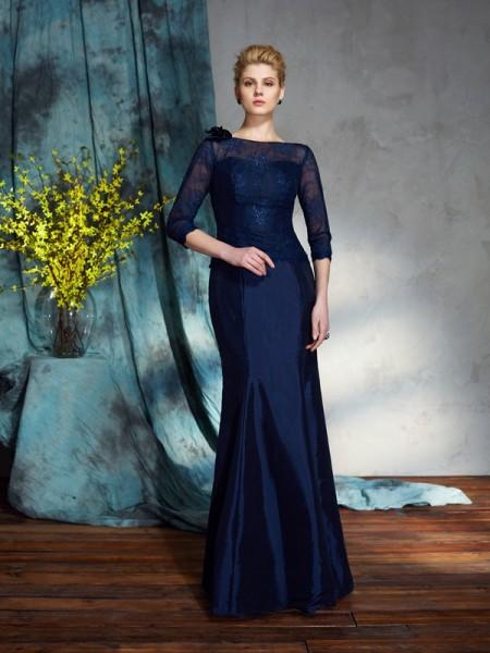 Trumpet/Mermaid Bateau Applique 1/2 Sleeves TaffetaMother of the Bride Dress