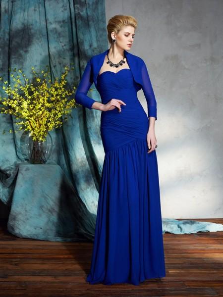 Sheath/Column Sweetheart Pleats Chiffon Mother of the Bride Dress