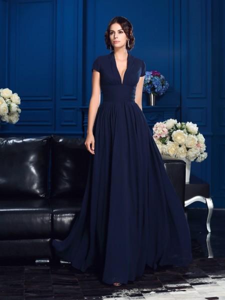 A-Line/Princess V-neck Applique Short Sleeves Chiffon Mother of the Bride Dress