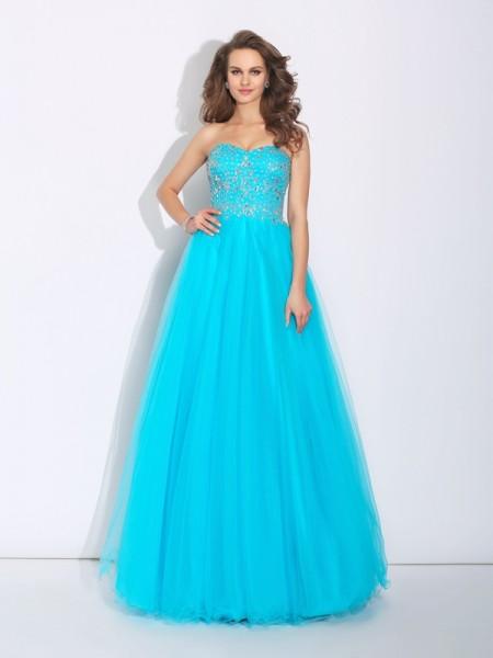 A-Line/Princess Sweetheart Rhinestone Satin Dress