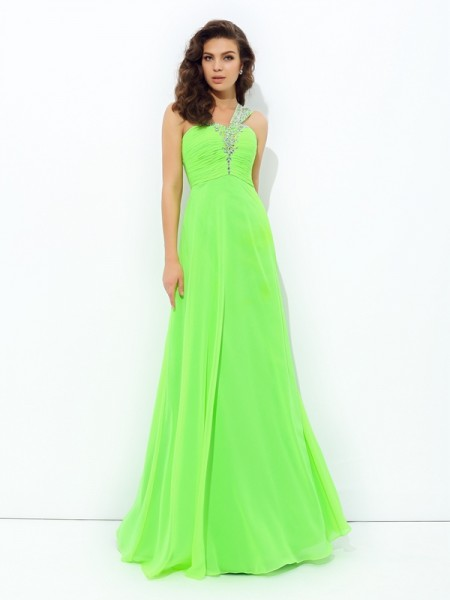 A-line/Princess One-Shoulder Rhinestone Chiffon Dress