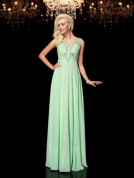 A-line/Princess Scoop Beading Chiffon Dress