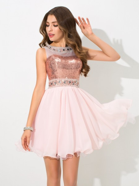 A-Line/Princess Sheer Neck Sequin Short Chiffon Cocktail Dress