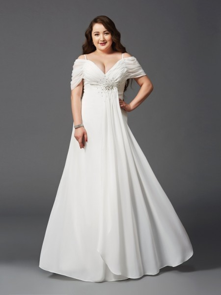 16ed5a1d5b5 A-Line Princess Off-the-Shoulder Ruched Short Sleeves Long Chiffon Plus  Size Dresses