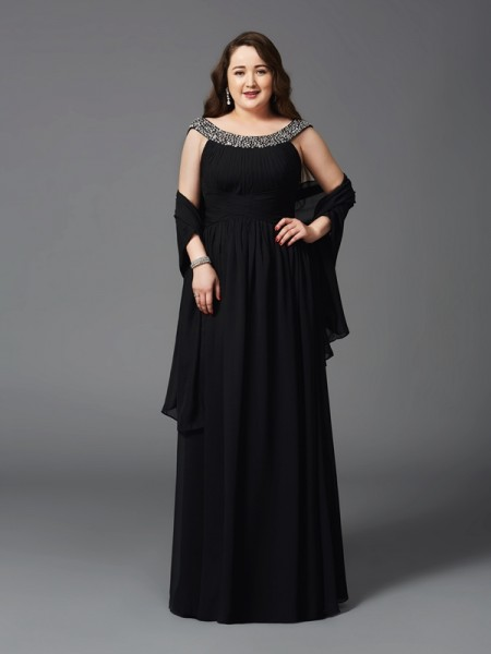 A-Line/Princess Scoop Rhinestone Chiffon Plus Size Dress