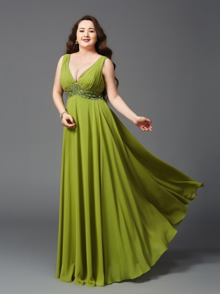 A-Line/Princess Straps Rhinestone Chiffon Plus Size Dress