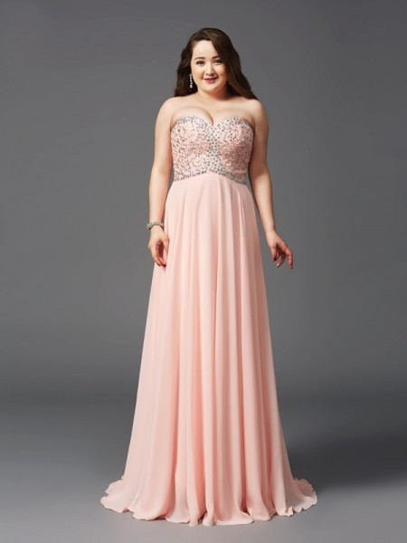 A-Line/Princess Sweetheart Beading Chiffon Plus Size Dress