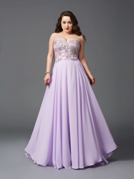 A-Line/Princess Sweetheart Lace Chiffon Plus Size Dress