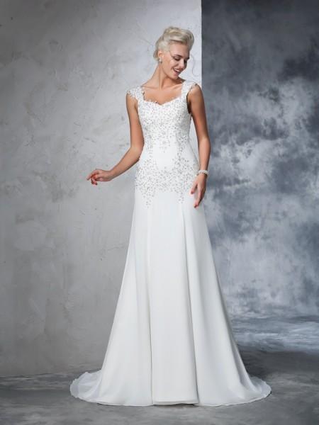 A-Line/Princess Straps Beading Chiffon Wedding Dress