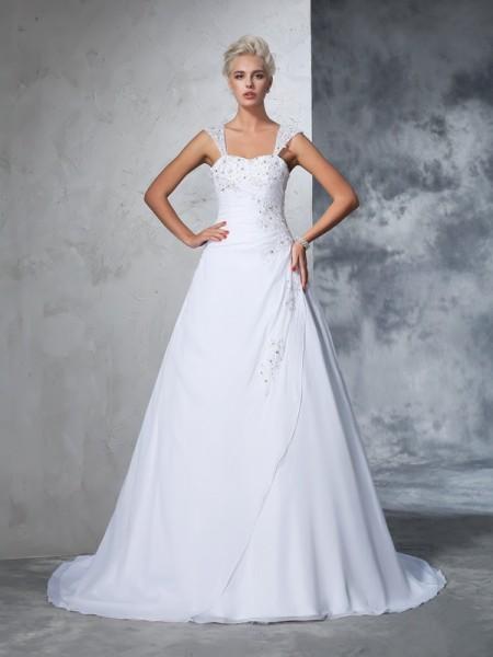 Ball Gown Straps Applique Chiffon Wedding Dress