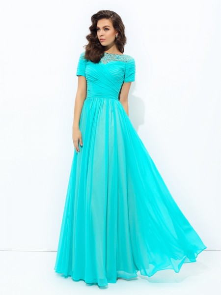 A-line/Princess Bateau Lace Short Sleeves Chiffon Dress