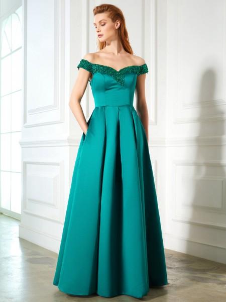 A-Line/Princess Off-the-Shoulder Sequin Satin Floor-Length Dress