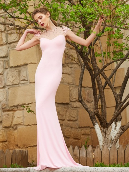 Trumpet/Mermaid Jewel Sweep/Brush Train Spandex Dress