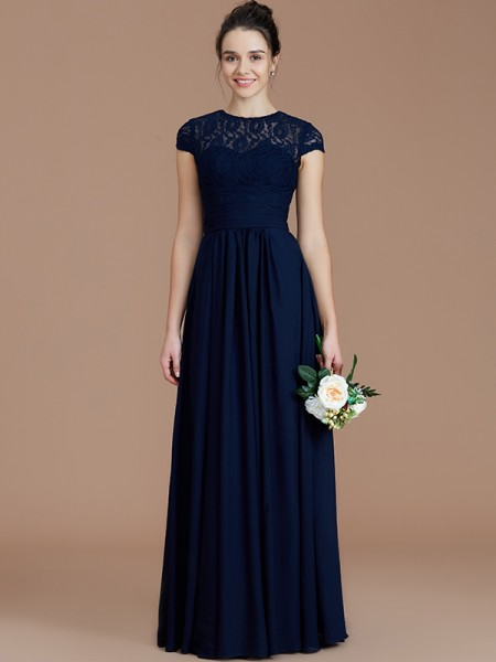 A-Line/Princess Jewel Lace Floor-Length Chiffon Bridesmaid Dress