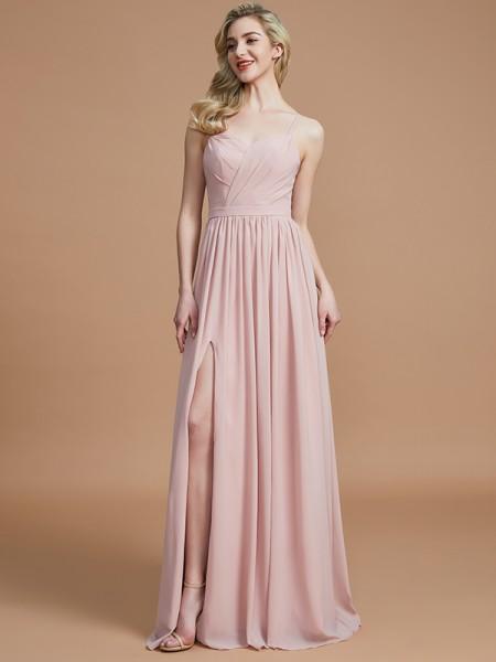 A-Line/Princess Spaghetti Straps Ruched Floor-Length Chiffon Bridesmaid Dress