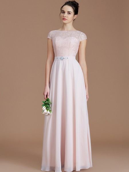 A-Line/Princess Bateau Lace Floor-Length Chiffon Bridesmaid Dress