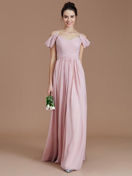 A-Line/Princess Ruched Floor-Length Chiffon Bridesmaid Dress