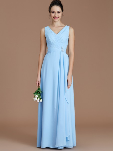 A-Line/Princess V-neck Ruched Floor-Length Chiffon Bridesmaid Dress