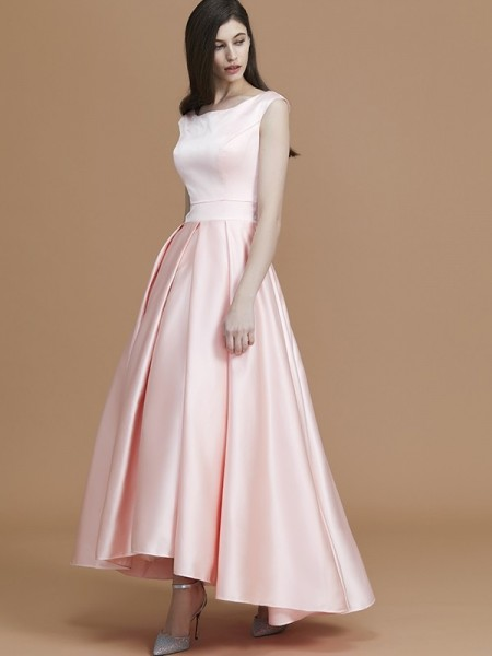 A-Line/Princess Bateau Asymmetrical Satin Ruffles Bridesmaid Dresses