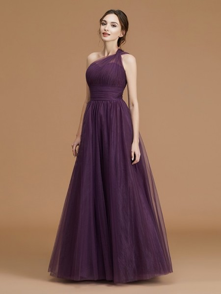 A-Line/Princess One-Shoulder Floor-Length Tulle Ruched Bridesmaid Dresses