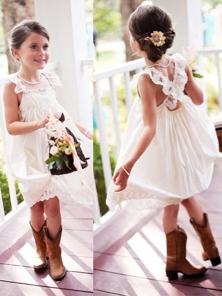 A-Line/Princess Sleeveless Square Knee-Length Lace Chiffon Flower Girl Dress