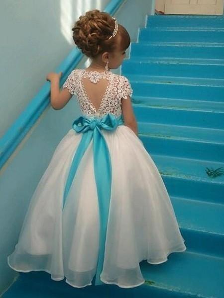 Ball Gown Short Sleeves Scoop Floor-Length Organza Flower Girl Dress