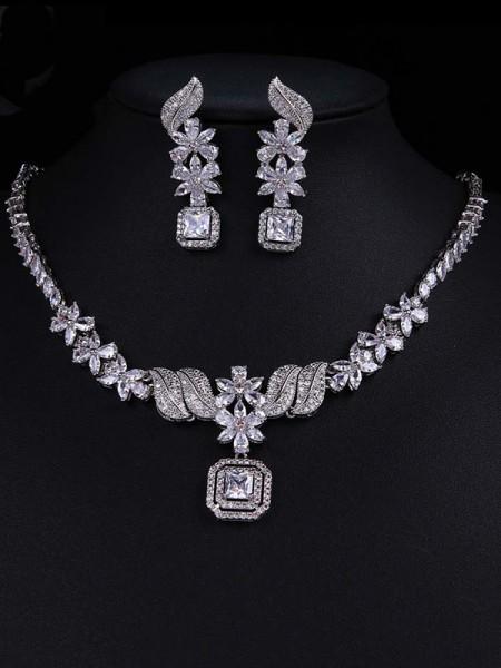 Luxurious Alloy With Zircon Jewelry Set For Ladies