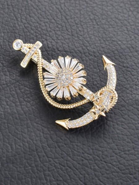 Unique Copper With Zircon Ladies' Brooch