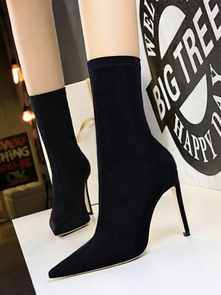 Women's Microfiber Stiletto Heel Closed Toe Boots