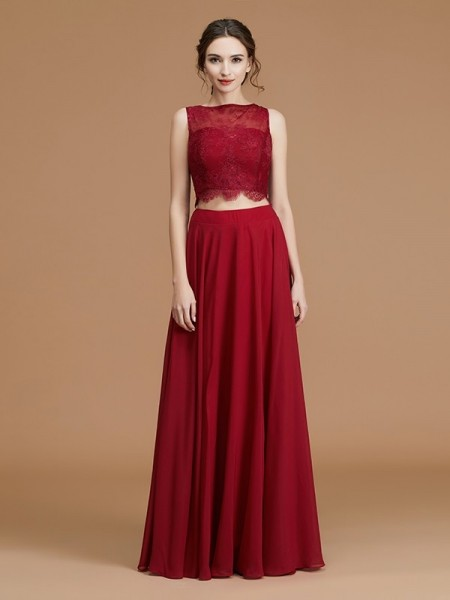 A-Line/Princess Bateau Floor-Length Chiffon Bridesmaid Dresses
