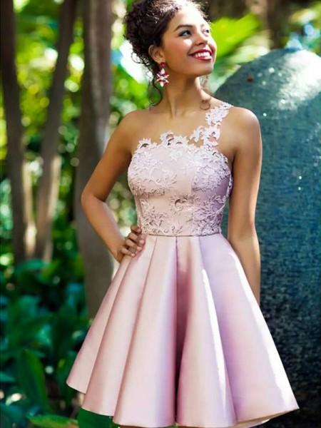 A-Line/Princess Sleeveless One-Shoulder Satin Short/Mini Dress