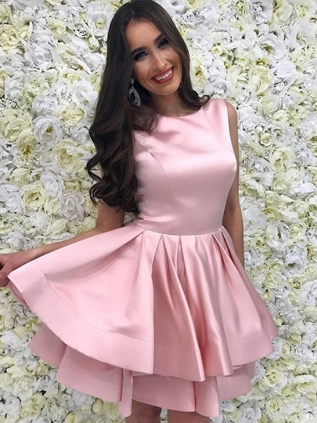 A-Line/Princess Scoop Satin Sleeveless Short/Mini Dress