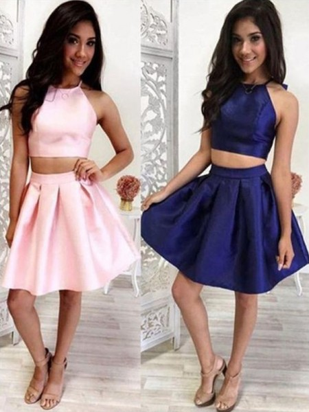 A-Line With Halter Satin Sleeveless Short/Mini Two Piece Dress