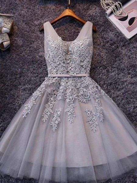 A-Line/Princess Sleeveless Straps Tulle Short/Mini Dress