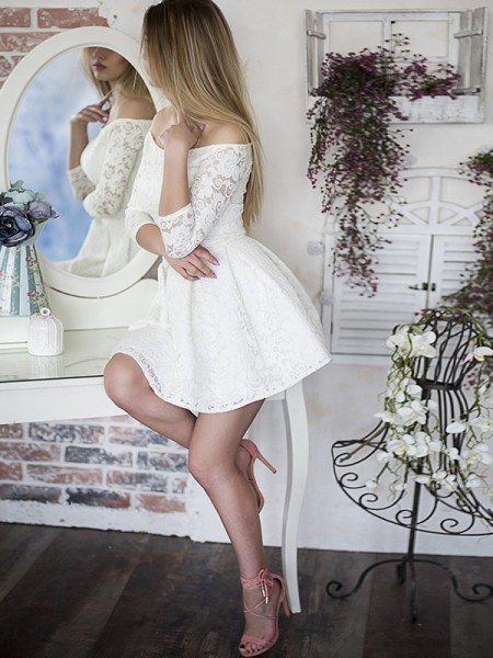 A-Line/Princess Lace 3/4 Sleeves Short/Mini Dress