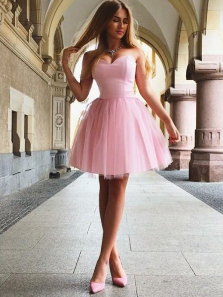 A-Line/Princess Sweetheart Sleeveless Satin Short/Mini Dress