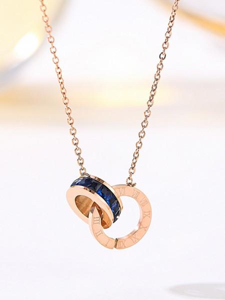 Charming Titanium With Zircon Necklaces For Ladies