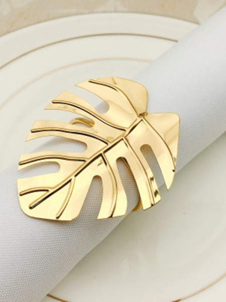Unique Metal With Leaf Napkin Rings(12 Pieces)