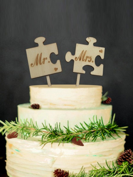 Exquisite Wooden Cake Topper