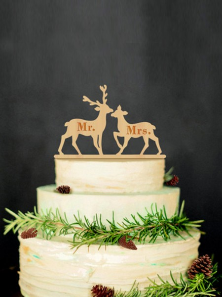 Fascinating Wooden Cake Topper